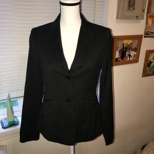 BCBG Maxazira stripped wool blend black blazer s